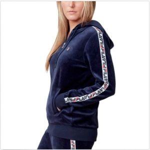 FILA Women's Velour Full Zip Hooded Track Jacket